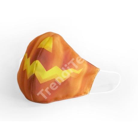 Halloween tökfej cikkcakk textil szájmaszk M-es méret