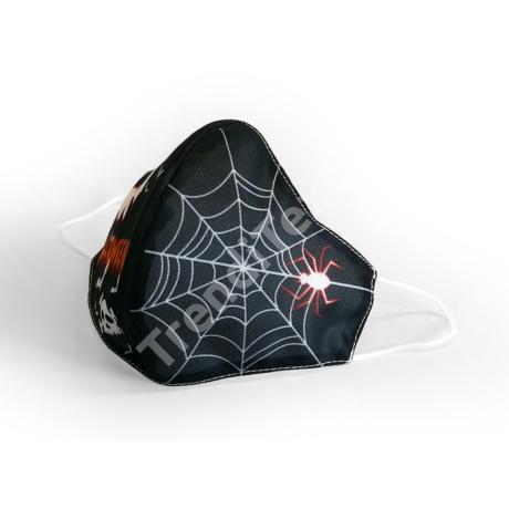 Halloween pókhálós fekete textil szájmaszk L-es méret
