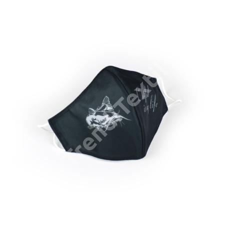 Harcsa fekete/fehér textil szájmaszk M-es méret