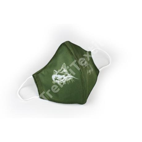 Harcsa khaki/fehér textil szájmaszk XL-es méret