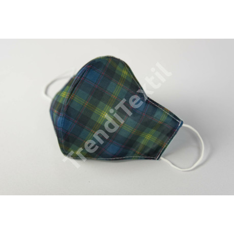 Skótkockás textil szájmaszk S-es gyerek méret